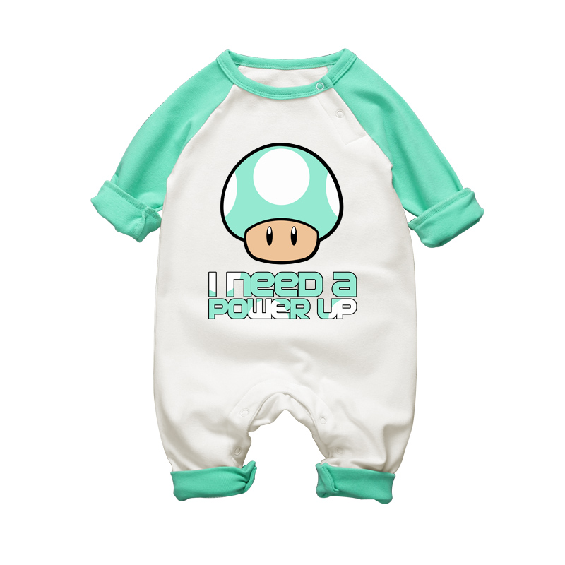 Super Mario Mushroom Print Baby Romper Cute Baby Cotton Clothes Våren Høst 0-18 Måneder Boy Girl Jumpsuits Spedbarn Kids Clothes