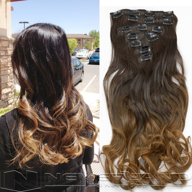 Neverland 20 22 Ombre Hair Extensions Wavy Curly Clip In Hair