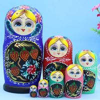7 Layer Hand Painted Strawberry Pattern Wood Matryoshka Doll Nesting Children Wooden Gift Fashion Home Decor