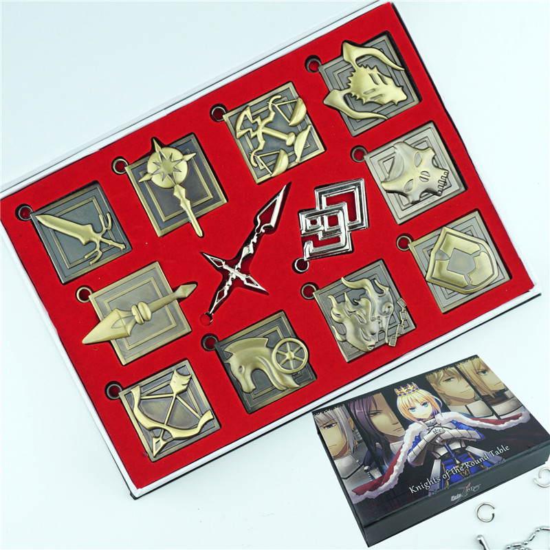 Anime Fate / stay night Zero Necklace Set Keychain 12pcs Zinc Alloy Metal Pendant Jewelry Cosplay Box For Friend Gift fate stay night fate zero anime cosplay wallet oxford short thin women men coin purse free shipping