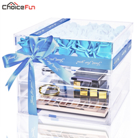 CHOICEFUN Mother's Day Luxury Large Transparent Clear Acrylic Makeup Fake Rose Box Square Big Lucite Gift Flower Box With Drawer