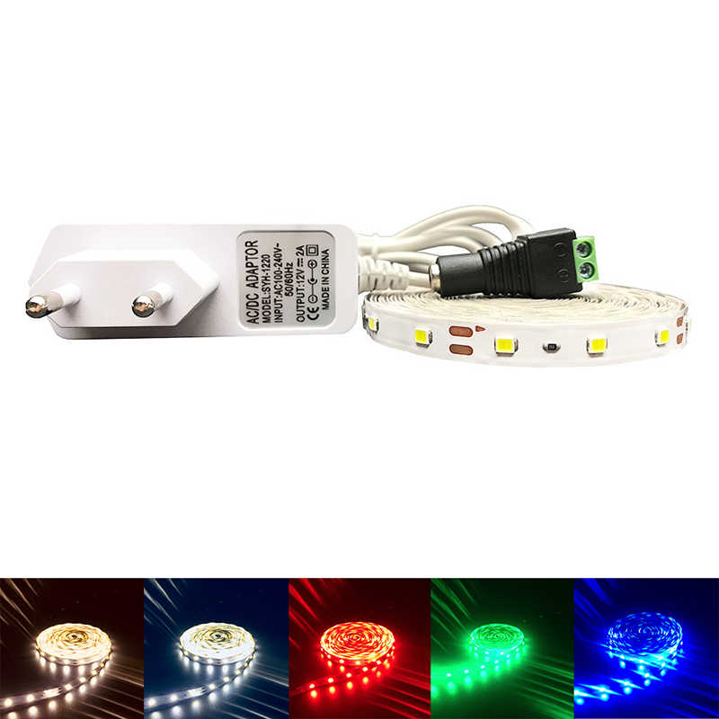 RGB LED Strip 3528 2835 Flexible Strip Lampu Tahan Air 5 M 300led 24key IR Remote Controller + DC12V Adaptor Daya