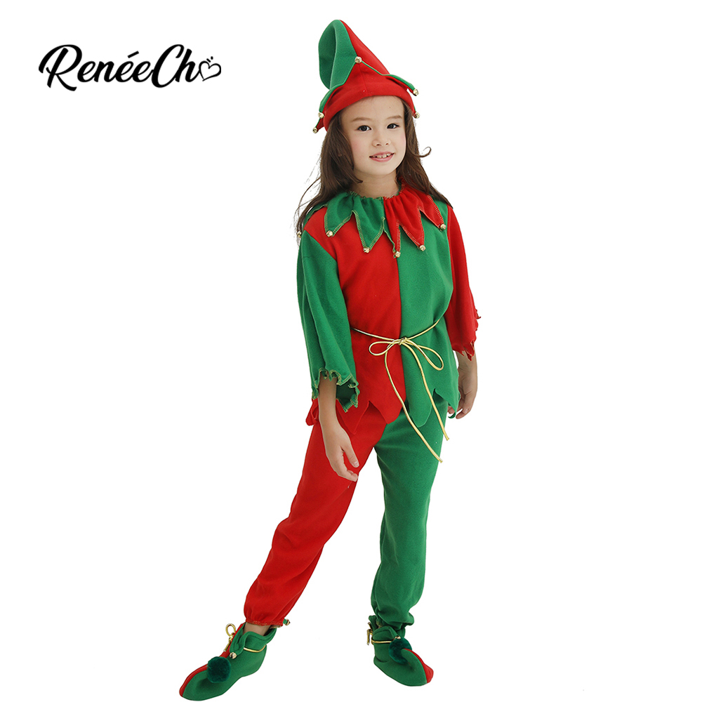 Reneecho Christmas Elf Costumes Kids Girls Santa Claus Costumes For Carnival Party Cosplay Gift Boy Hat Top Pants 3 pieces Suit