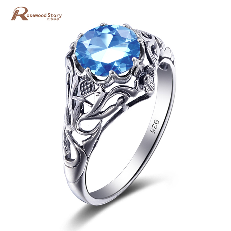 China 925 Sterling Silver Manufacturers Charms Real Sky Blue Crystal Solitaire Engagement Ring For Women Wedding Body Jewelry In Rings From
