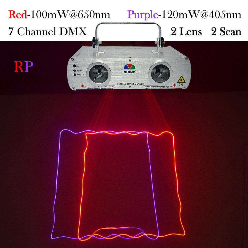SHINP DMX 7CH 2 Lens Red Purple Laser Lights Beam Master-Slave Profession Party DJ KTV Home Projector Bar Stage Lighting DL-22RP aucd 2 lens red blue rb beam pattern laser light dmx 7ch pro dj party club bar ktv holiday wedding stage lighting dj 506rgb