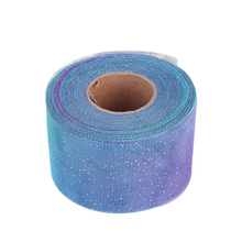 6cm*50y Rainbow Glitter Tulle Rolls for Table Sash Bow Tutu Skirt Wedding Party Gift Ribbon Unicorn Birthday Decoration