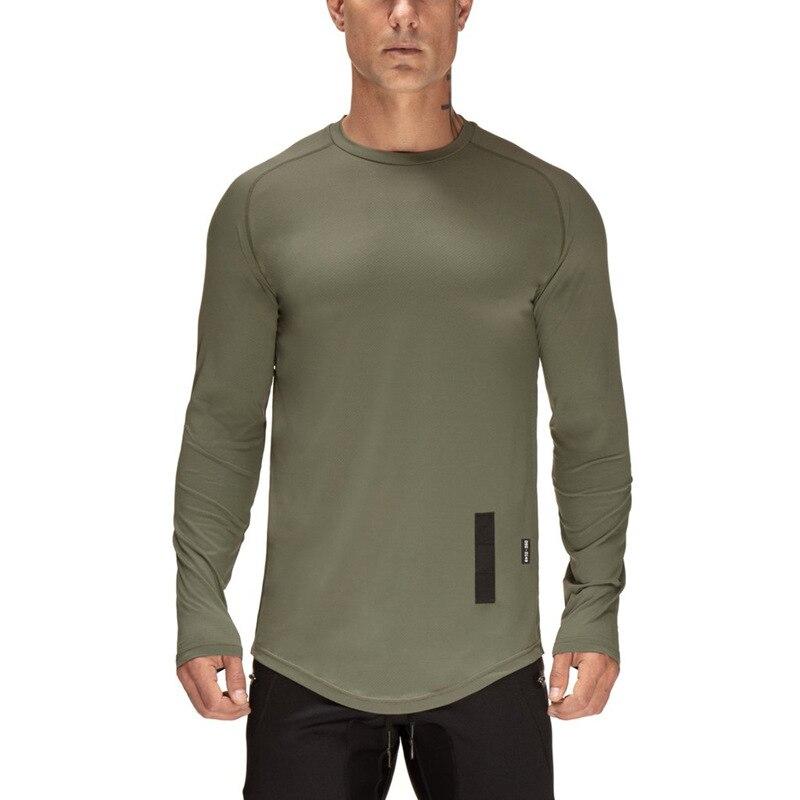2018 Brand summer round collar Tops Tees Men's long sleeve T-shirt sports fitness men's shirt Running gym men t shirt