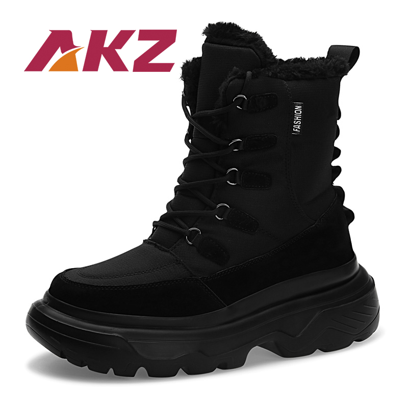 AKZ Pig Suede Waterproof Man Snow Boots Warm Winter Mid calf Boots Men Martin Boots Thick