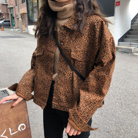 spring and autumn korean vintage style denim jackets coats Women streetwear loose leopard jeans jackets female (X968)