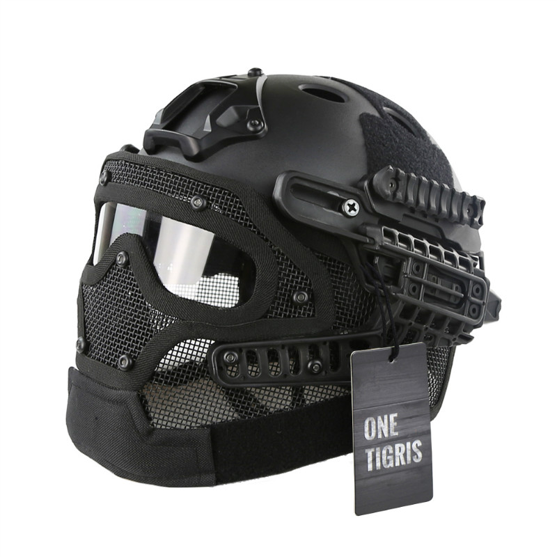 OneTigris Tactical Fast Helmet PJ Type with Protective Goggle and Mesh Face Mask for Airsoft Paintball brand new skull skeleton army airsoft tactical paintball full face protection mask