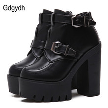 Gdgydh Drop Shipping 2017 Spring New Women Boots Round Toe Platform Female Ankle Boots Fashion Buckle Black Leather Ladies Shoes