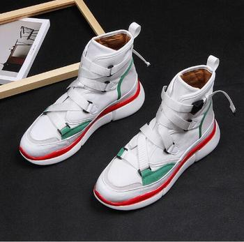 Men's Lightweight sneakers lace-up Cross strap round toe high top casual shoes for men fashion falt office shoes