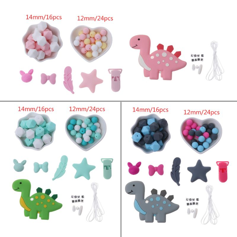 Baby Teether Dinosaur Silicone Beads Pacifier Clip DIY Jewelry Teething Necklace