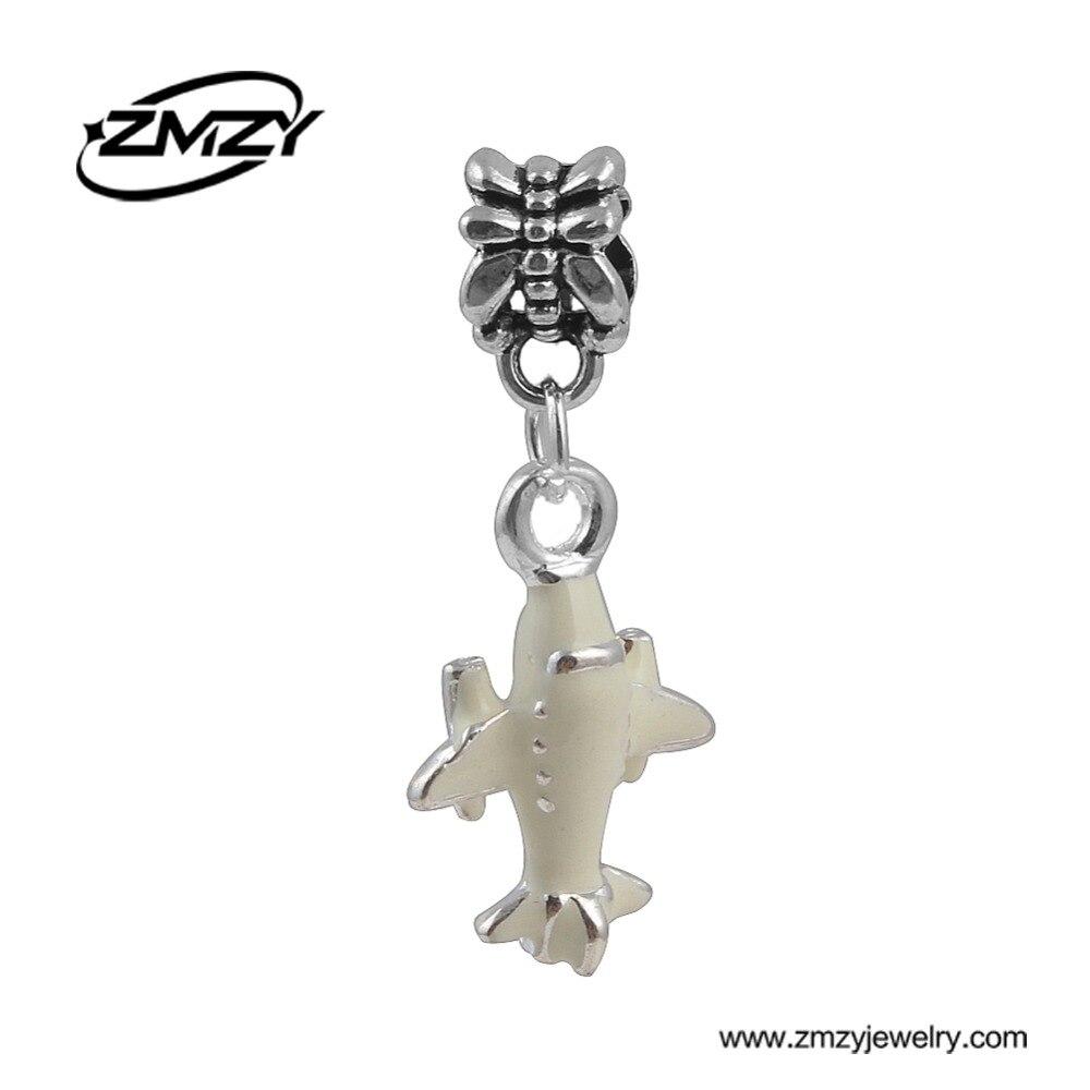 New Design Silver Plated Enamel Plane Pendants Beads European DIY Pendant Fit Pandora Charms Bracelets Jewerly