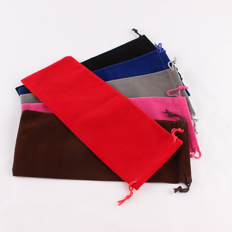 5pcs/lot 10*25cm High Quality Customized Logo Printed Velvet Drawstring Pouch Packing  Candies Food Cookie Package