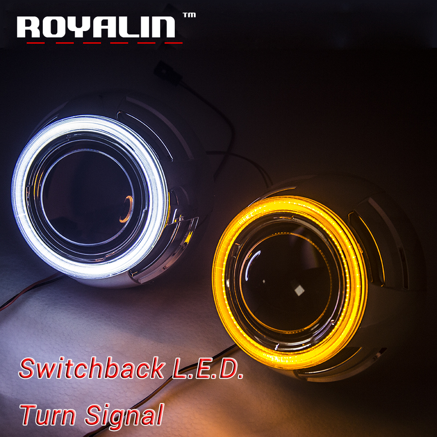 ROYALIN Car Styling 3.0 Metal Lens H1 Headlights w/ Switchback LED COB Angel Eyes White Yellow Color Turn Signal Light for H7 H4 royalin w2 halogen lens h1 for hid bi xenon projector headlight lenses led cob angel eyes white demon devil eyes for h4 h7 cars