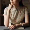 La primavera y el verano de la nueva llegada Mujeres tendencia nacional botones de la placa de fluido estilo chino cheongsam delgado superior