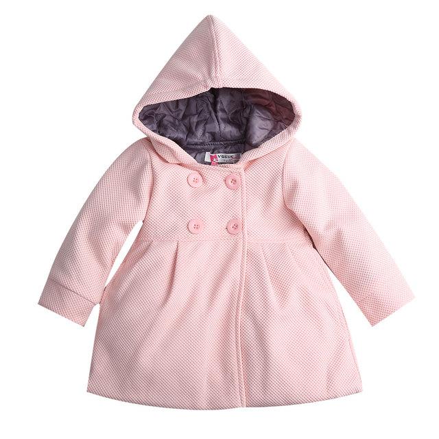 2017 New Baby Toddler Girls Fall Winter Chaquetón Con Capucha Botón de la Bocina prendas de Vestir Exteriores de la Chaqueta