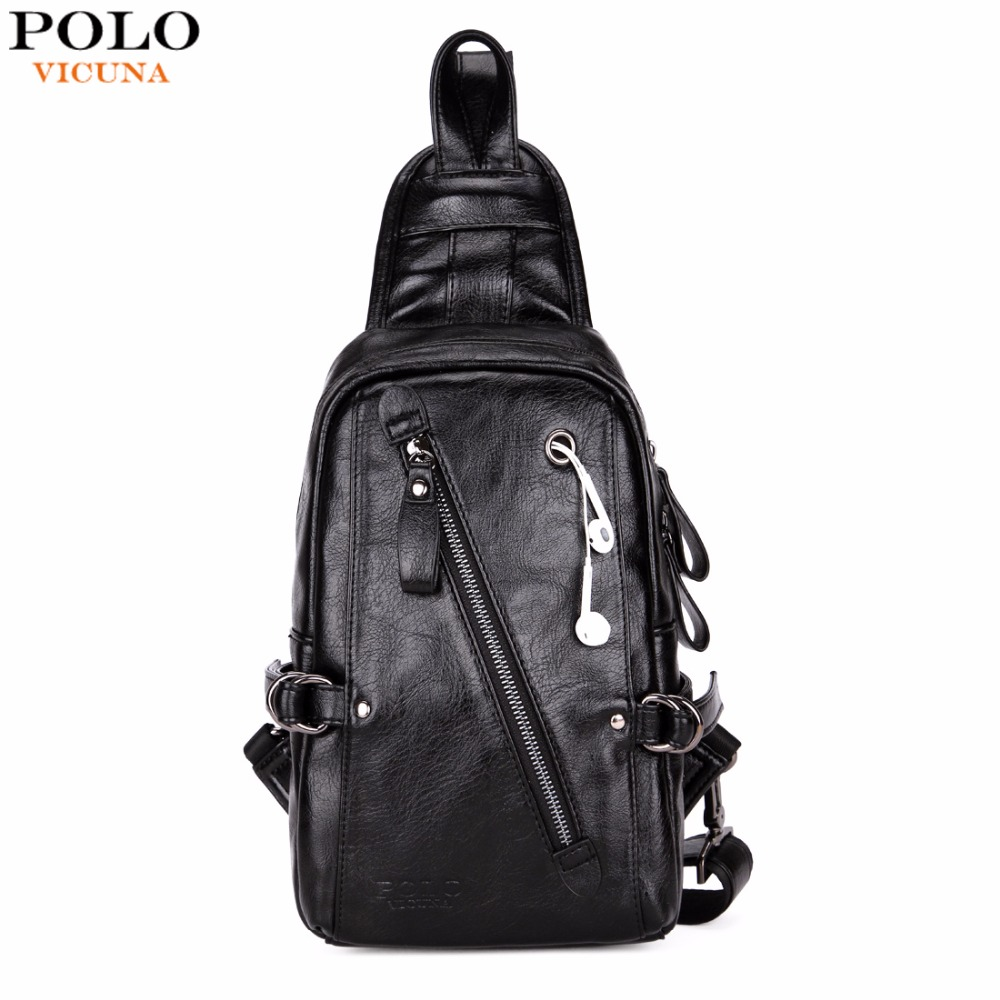 VICUNA POLO Fashion Black PU Leather Sling Bag For Men Solid Patchwork Leisure Men Messenger Bag Shoulder Bags casual canvas satchel men sling bag