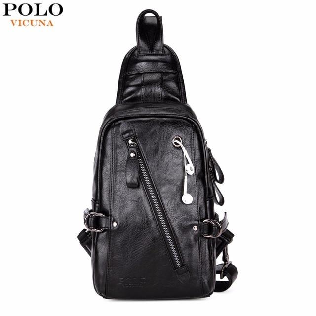 374e744566 VICUNA POLO Fashion Black PU Leather Sling Bag For Men Solid Patchwork  Leisure Men Messenger Bag