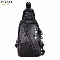 VICUNA POLO Mode Zwart PU Lederen Sling Bag Voor Mannen Effen Patchwork Leisure Mannen Messenger Bag Schoudertassen