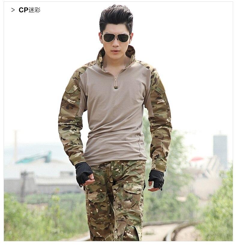 Hosenanzug Kleidung Camouflage Sets Outdoor Jagd Kampf Airsoft Uniform LiebenswüRdig Militärische Taktische Armee Uniform Mit Knieschützer Jacke Sportbekleidung Sport & Unterhaltung