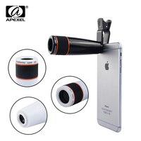 Apexel Camera Lens Universal Clip 12X Telephoto Lens Mobile Phone Optical Zoom Telescope Camera For IPhone567