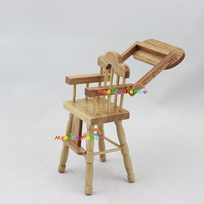 Bedroom Furniture Wooden Baby High Chair 1:12 Scale Dollhouse Miniatures Kids Bjd Doll House