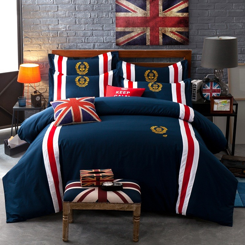 60S Cotton Badge Britisk Style Blå Farve Sengetøj Soveværelse King - Hjem tekstil
