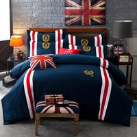 60S Cotton Badge British Style Blue color Bedding Set King Queen size Double Bed sheet set Duvet cover Pillow shams