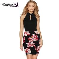 Fantaist 2017 Women Dress Elegant Floral Print Haltel Sleeveless Keyhole Neck Party Mini Sexy Night Club Bodycon Dress Short