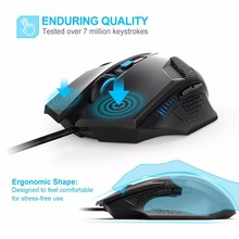 TeckNet Raptor Gaming Mouse 2000 DPI 6 Button Extra Weight Optical Computer Mouse E-Sports USB PC Mouse For Computer Laptop