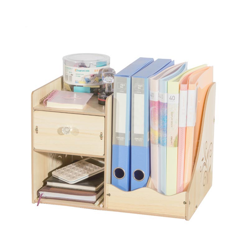 Wood DIY Desktop Tray Paper Holders Magazine Box Bookshelf Dividers A4 File Organizer Document Trays Office Supplies comix mc 55 a4 practical plastic file box information boxes document files box storage cases paper organizer office supplies