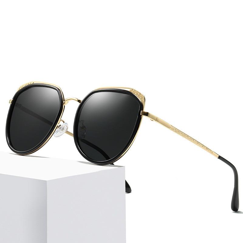Ellen Buty Brand Fashion Cat Eye Sunglasses Women Polarized Alloy Driver Driving Sun Glasses Pink Glasses