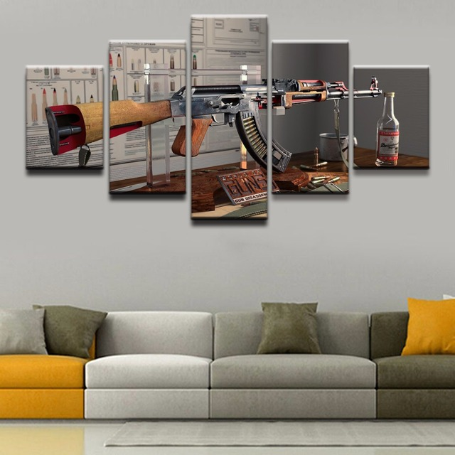 modern artwork for living room. Canvas Painting Wall Art Pictures 5 Pieces Weapons AK 47 Printed  Poster Home Decor