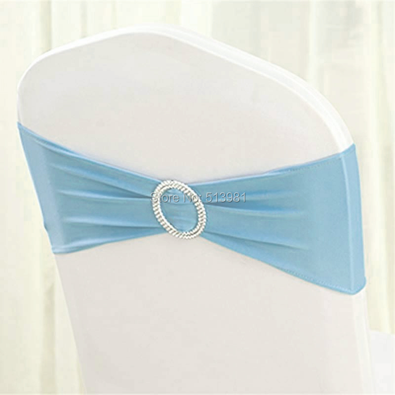 100pcs High Quality #18 light blue Spandex chair band with buckle/ spandex sash/chair sash for chair cover wedding decoration