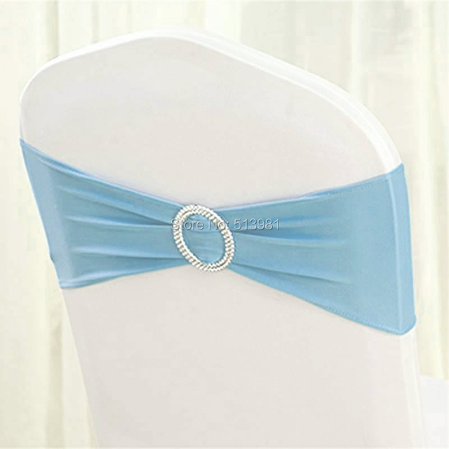 100pcs High Quality 18 Light Blue Spandex Chair Band With Buckle