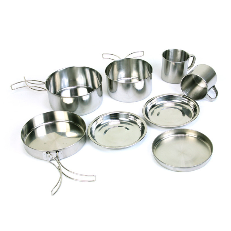 Outdoor Camping Tableware Set Stainless Steel Set Traveling Tourism Biking Picnic Equipment Includes Lid Mugs Skillet Bowls