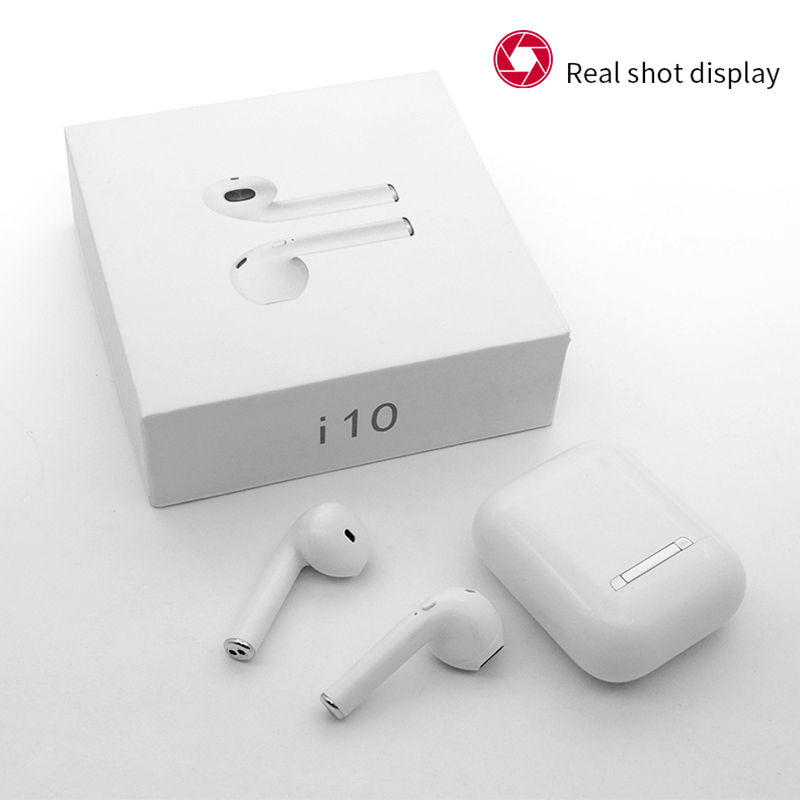 i10 TWS Wireless Bluetooth Earphone One-Button control Earbuds Ture Wireless Stereo Headphone for Phone With Charging case