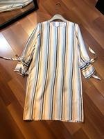 2019 new ladies fashion long sleeved silk print striped dress 0509