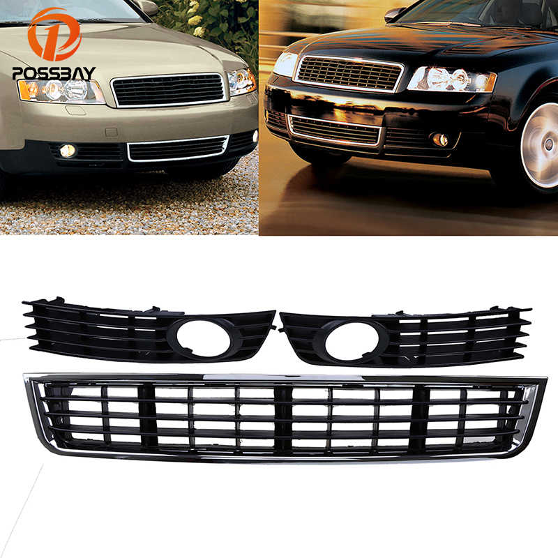 POSSBAY Front Bumper Lower Grille Grill Fog Lights Hole Cover for Audi A4 B6 Sedan 2001-2005 Auto Replacement