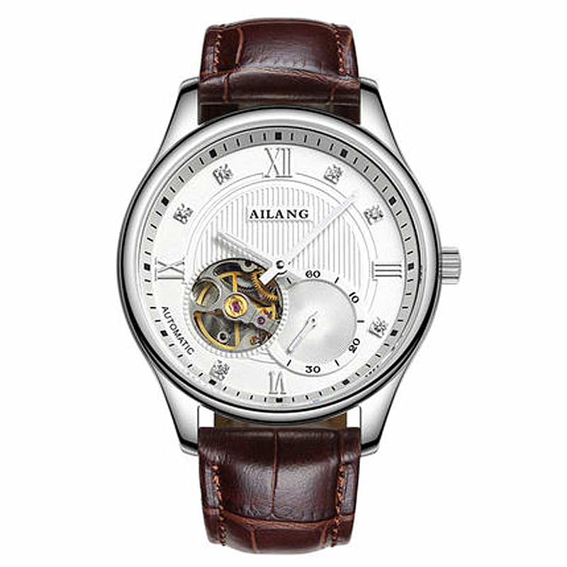AILANG Casual Skeleton Watch Men Waterproof Luxury Brand Rhinestone Mechanical Watches Relogio masculino Clock Gold Wristwatch forsining gold hollow automatic mechanical watches men luxury brand leather strap casual vintage skeleton watch clock relogio