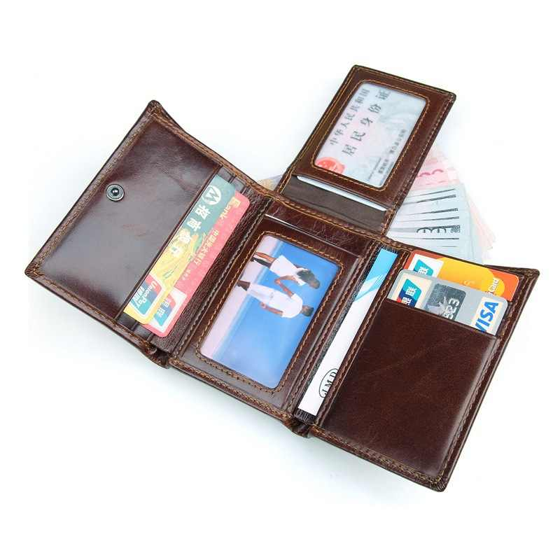 ea7954f3fff2 ... MACWAVE Trifold Full Grain Leather Wallets For Men RFID Blocking Slim Genuine  Leather Mens Wallet Card