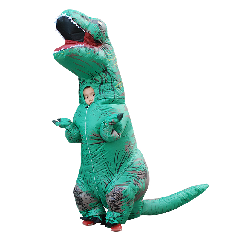 Halloween Party Costumes Walking With Inflatable Dinosaur Costumes Air Fan Blow Up Suits