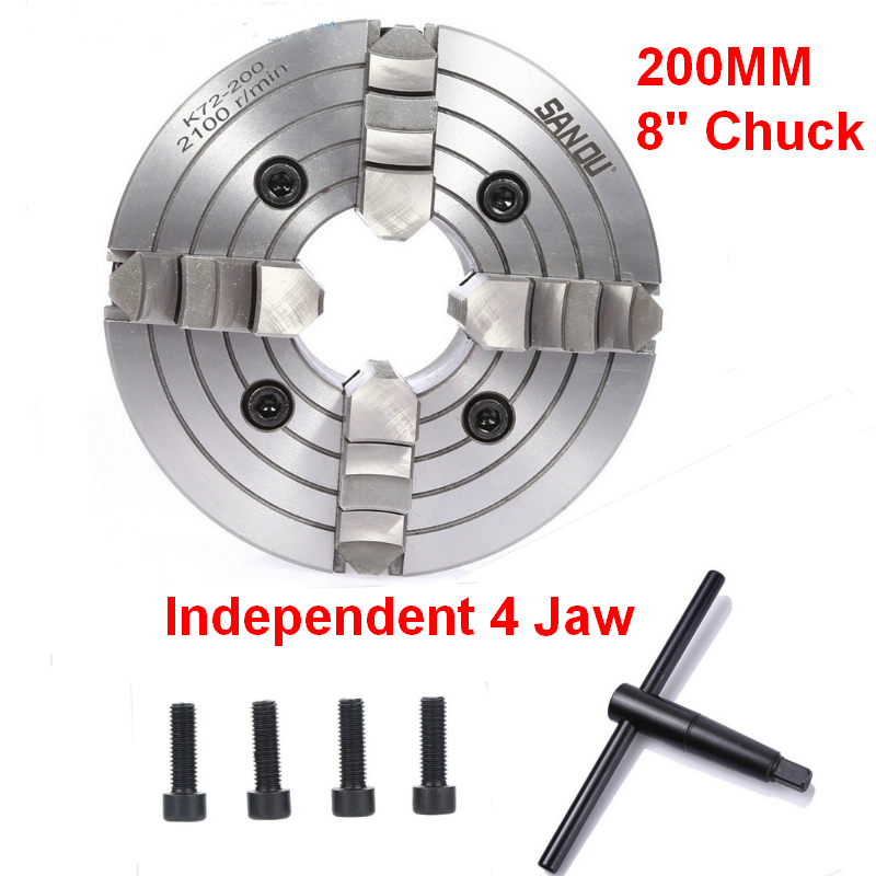 200mm 4Jaw 8 Lathe Chuck Independent Reversible Jaw SANOU K72 200 for CNC Drilling Milling woodworking