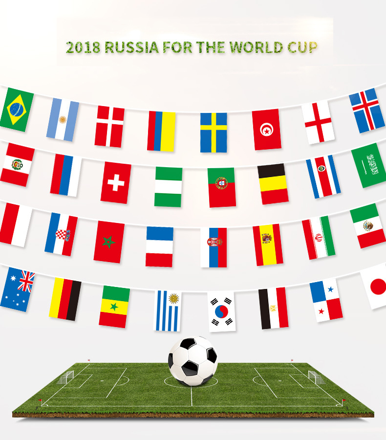 2018 Soccer Football String Flag  32 Country 14x21cm Flags Country Banner Bar Home Football Soccer Fan Party Decoratio