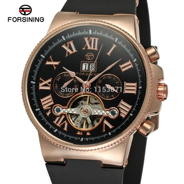 FORSINING Luxury Brand Mens Sports Mechanical Watches Fashion Casual Business Rubber Strap Wristwatch with Date and Week DisplayFORSINING Luxury Brand Mens Sports Mechanical Watches Fashion Casual Business Rubber Strap Wristwatch with Date and Week Display
