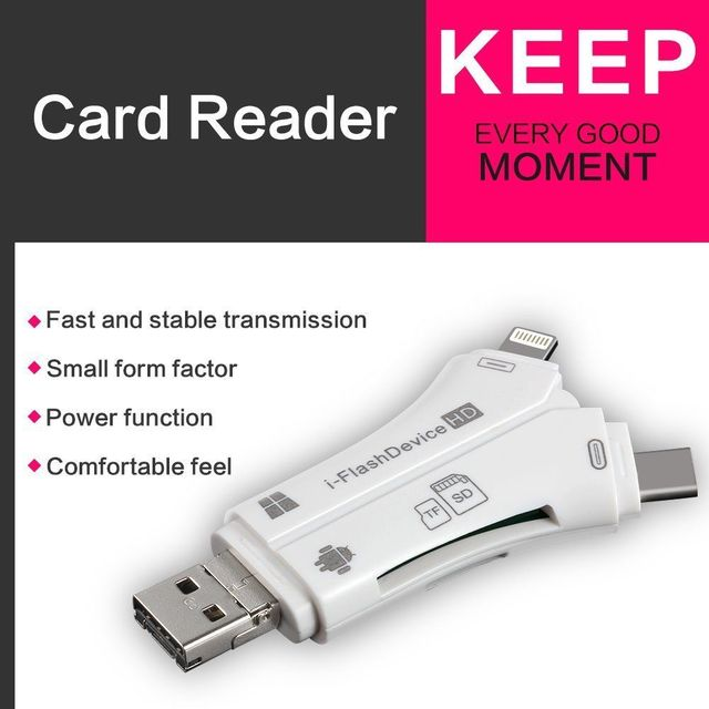 4 in 1 i Flash Drive USB Micro SD&TF Card Reader Adapter for iPhone pro 11 X max 5 6 7 8  for iPad Macbook Android Camera 2