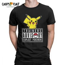 Trainers Advisory Pokemon Tee Shirt Pokeball Pikachu Anime T-Shirt for Men Fashion Cotton Short Sleeve T Shirt Printed Clothes(China)