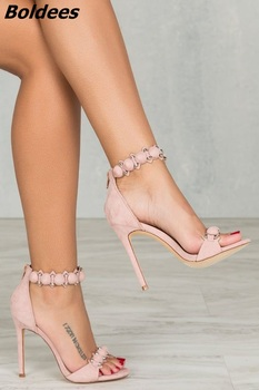 Fancy Pink Suede Rivets Decorated Stiletto Heel Dress Sandals Women Sexy Open Toe Ankle Wrap Dress Shoes Classy Sandals Hot Sell фото
